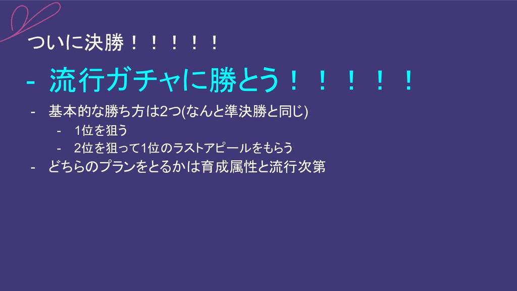 ついに決勝!!!!! - 流行ガチャに勝とう!!!!! - 基本的な勝ち方は2つ(なんと準決勝...