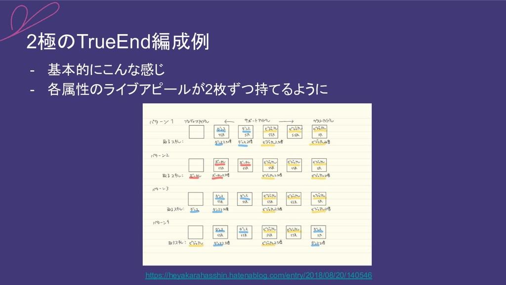 2極のTrueEnd編成例 - 基本的にこんな感じ - 各属性のライブアピールが2枚ずつ持てる...