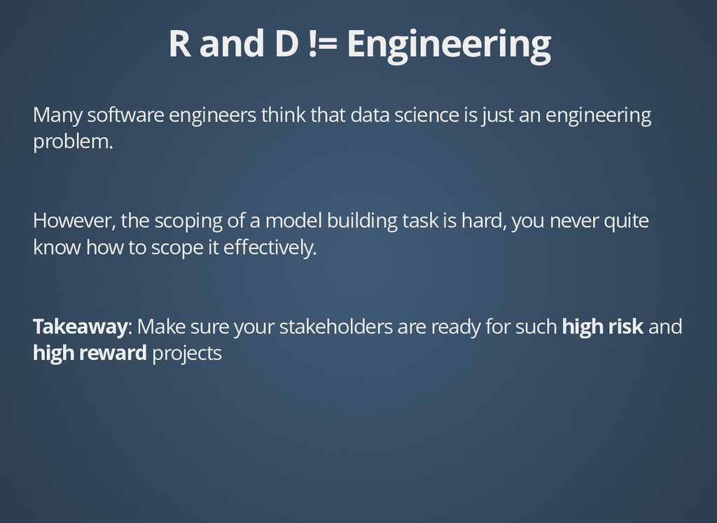 R and D != Engineering R and D != Engineering M...