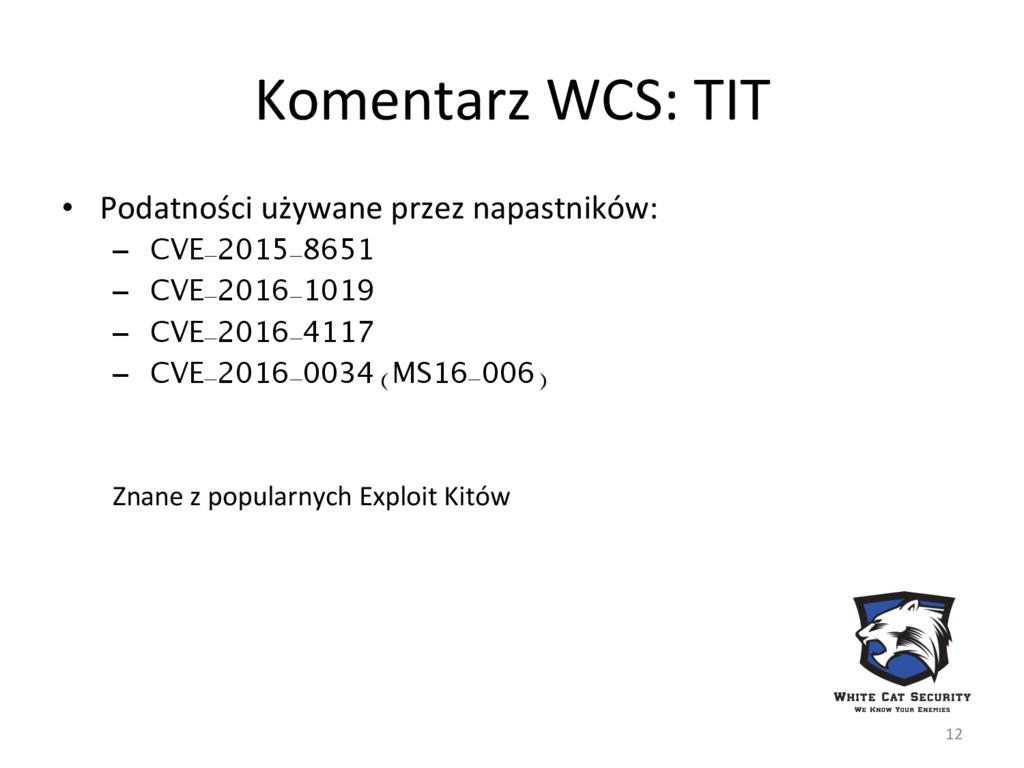 Komentarz WCS: TIT • Podatności używane przez ...