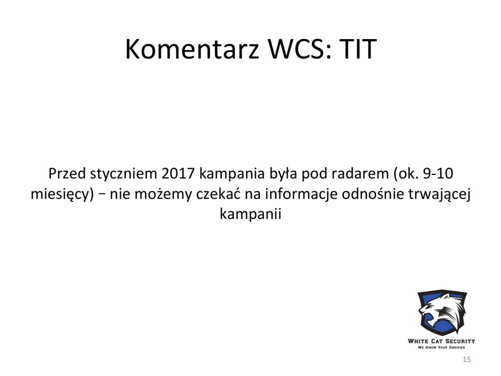 Komentarz WCS: TIT Przed styczniem 2017 kampani...