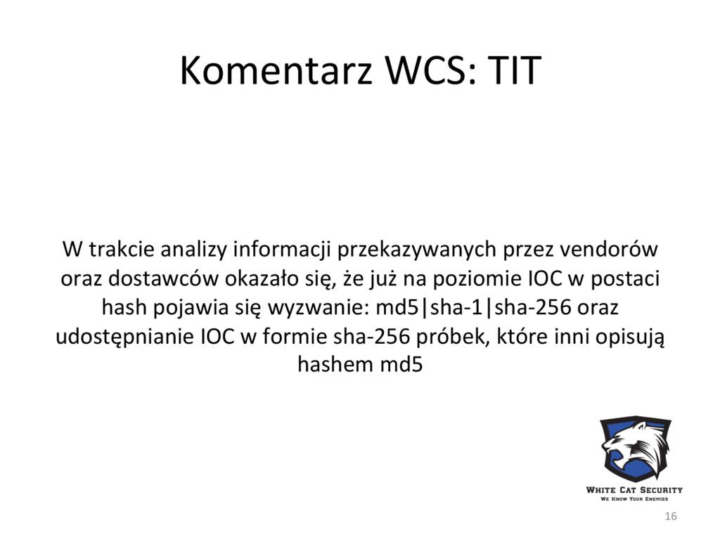 Komentarz WCS: TIT W trakcie analizy informacji...
