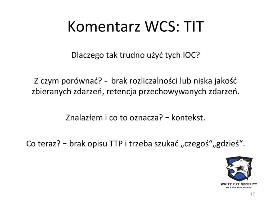 Komentarz WCS: TIT Dlaczego tak trudno użyć tyc...