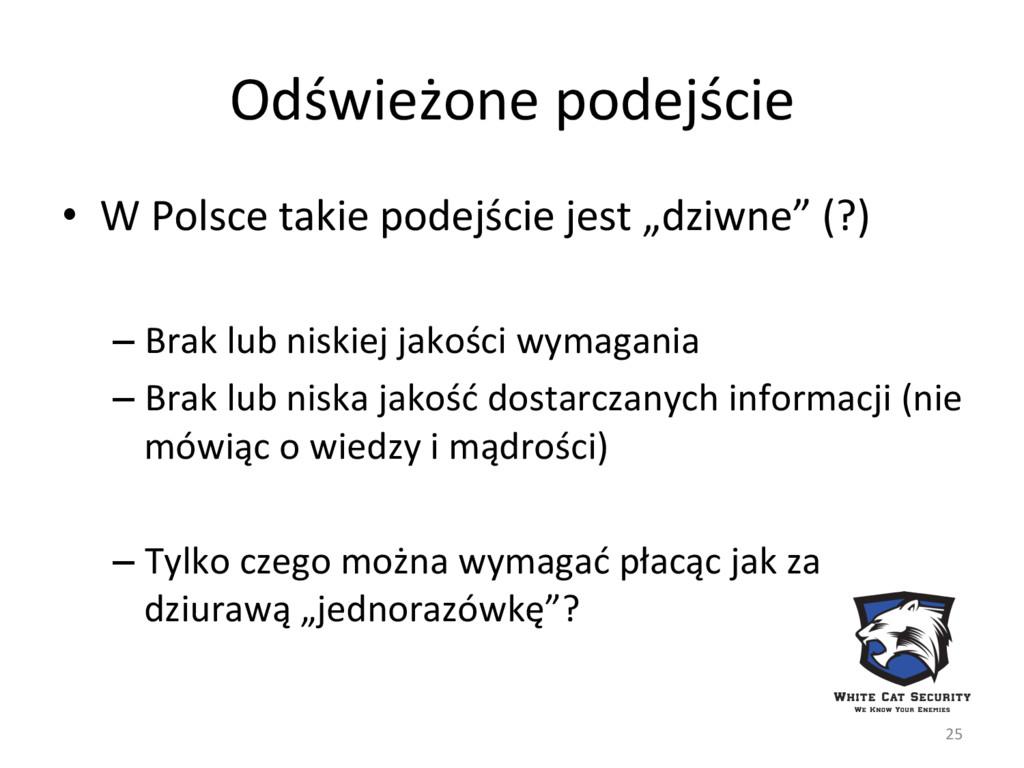 Odświeżone podejście 25 • W Polsce takie podej...
