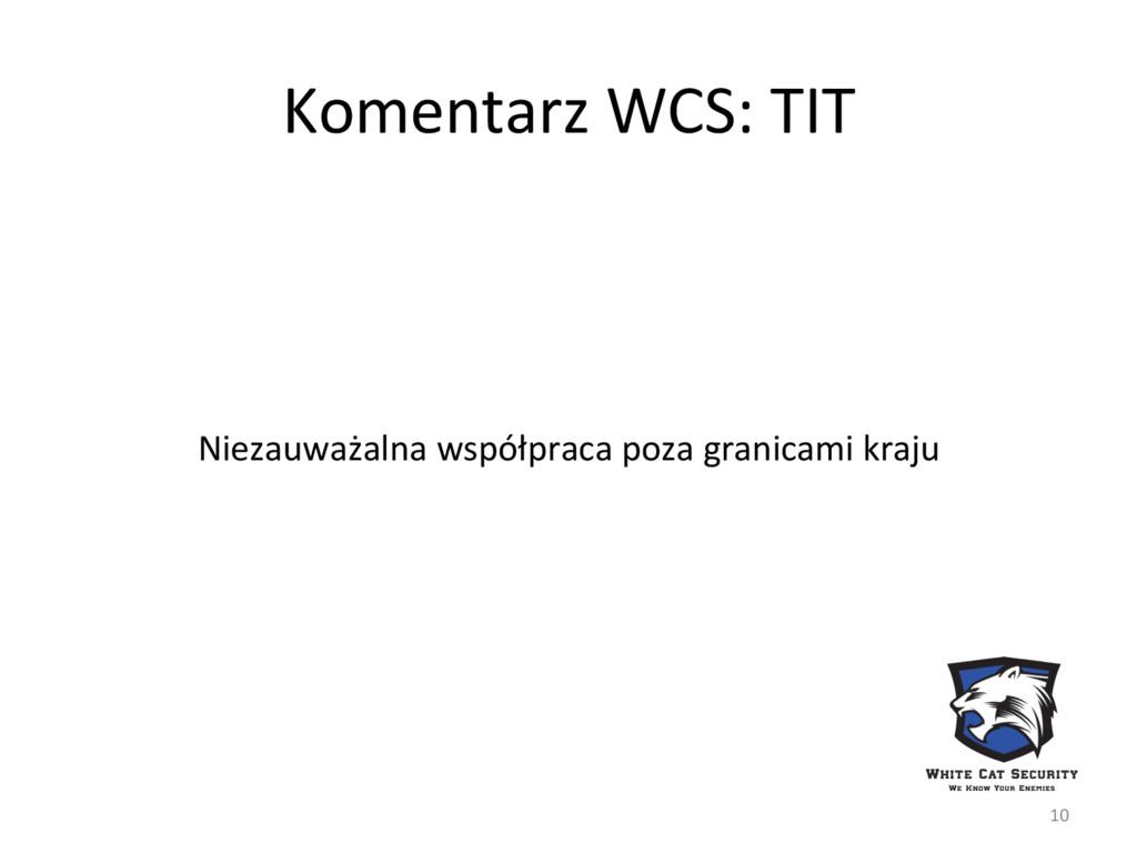 Komentarz WCS: TIT Niezauważalna współpraca poz...