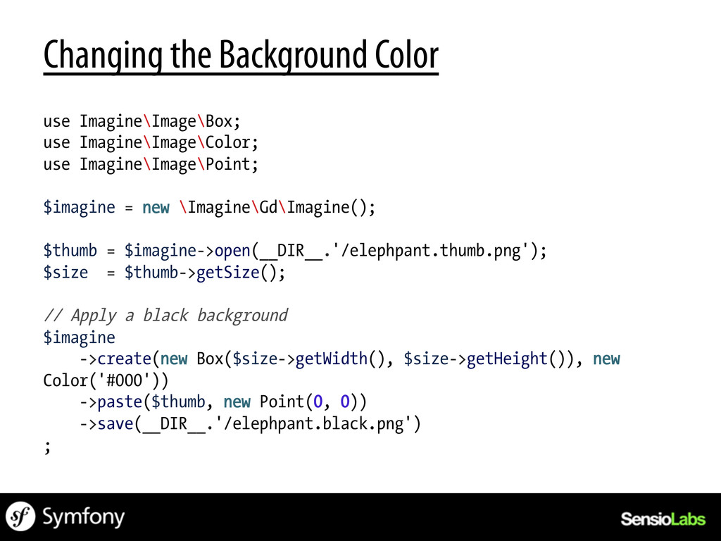 Changing the Background Color use Imagine\Image...
