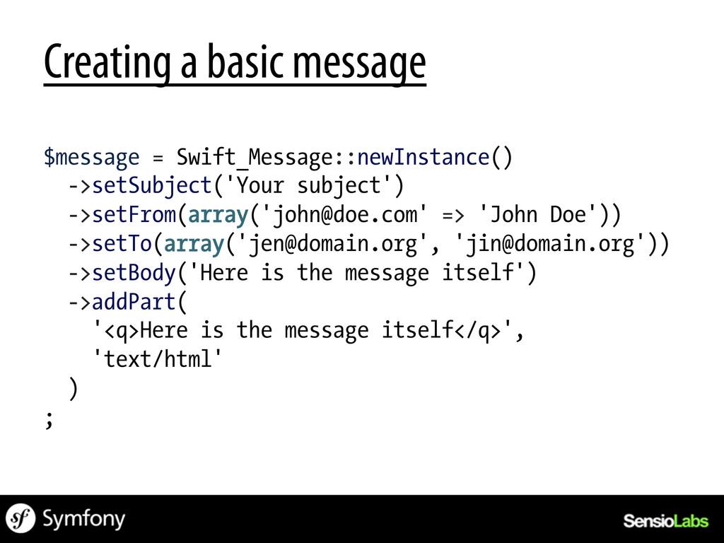 Creating a basic message $message = Swift_Messa...