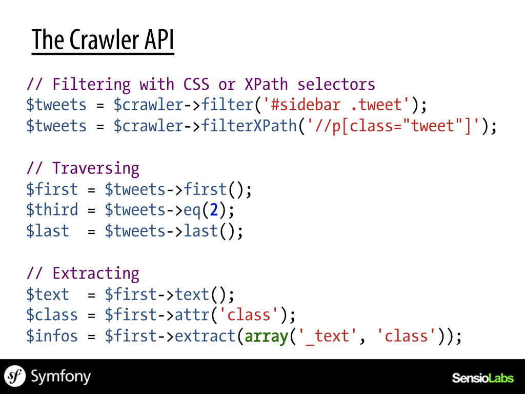 The Crawler API // Filtering with CSS or XPath ...