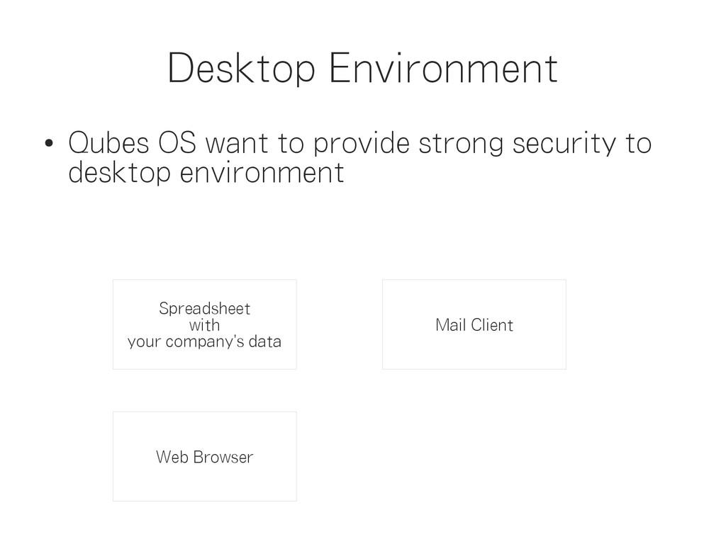 Desktop Environment ● Qubes OS want to provide ...