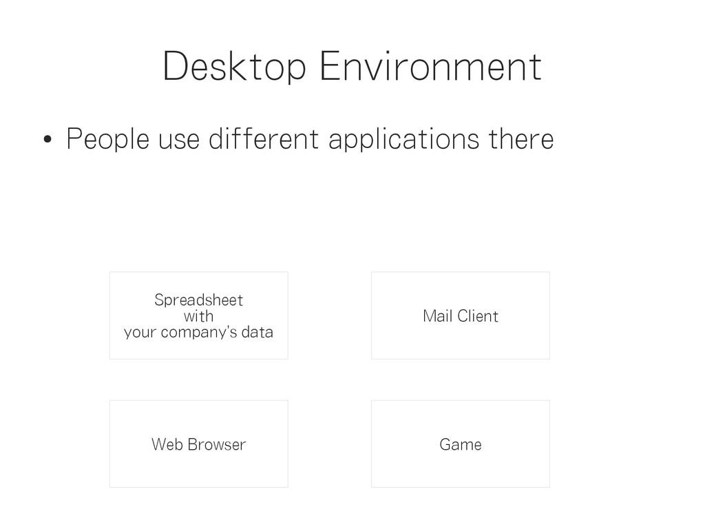 Desktop Environment ● People use different appl...