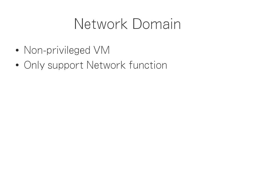 Network Domain ● Non-privileged VM ● Only suppo...