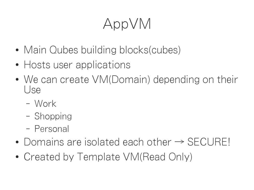 AppVM ● Main Qubes building blocks(cubes) ● Hos...
