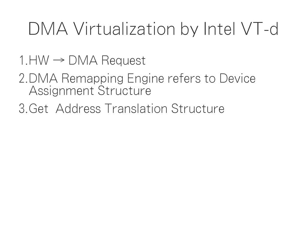DMA Virtualization by Intel VT-d 1.HW → DMA Req...