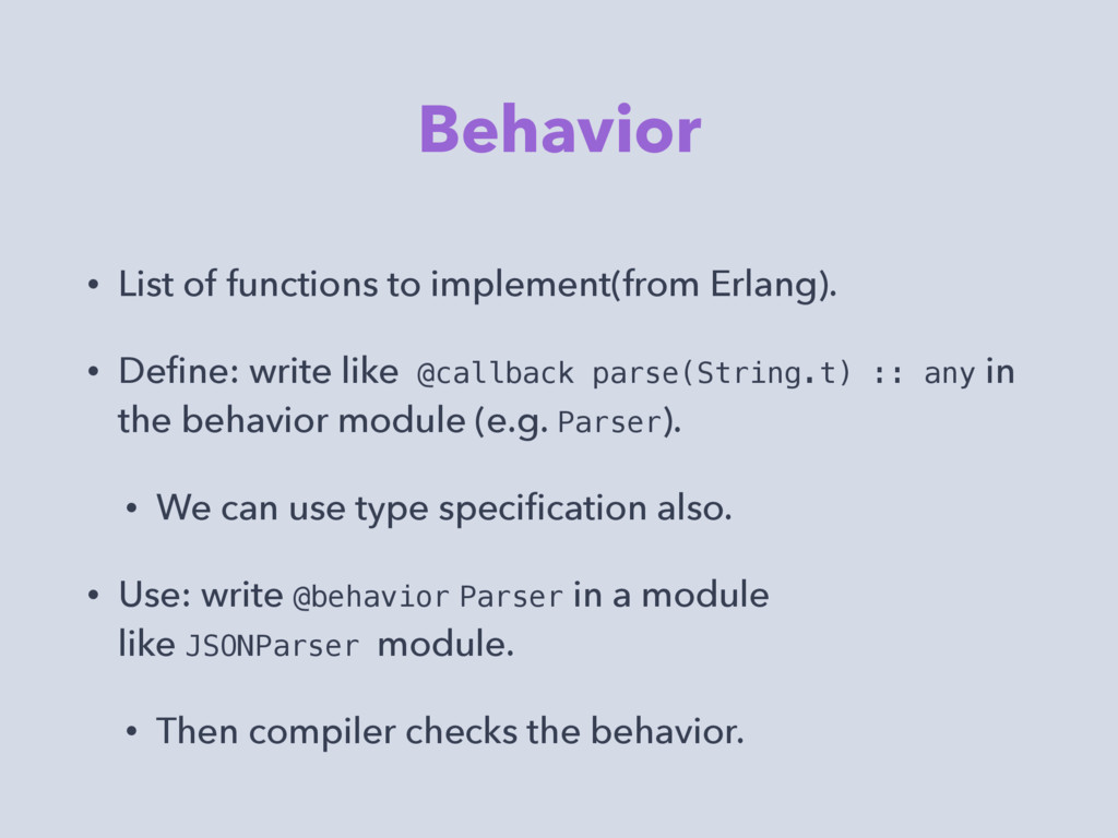 Behavior • List of functions to implement(from ...