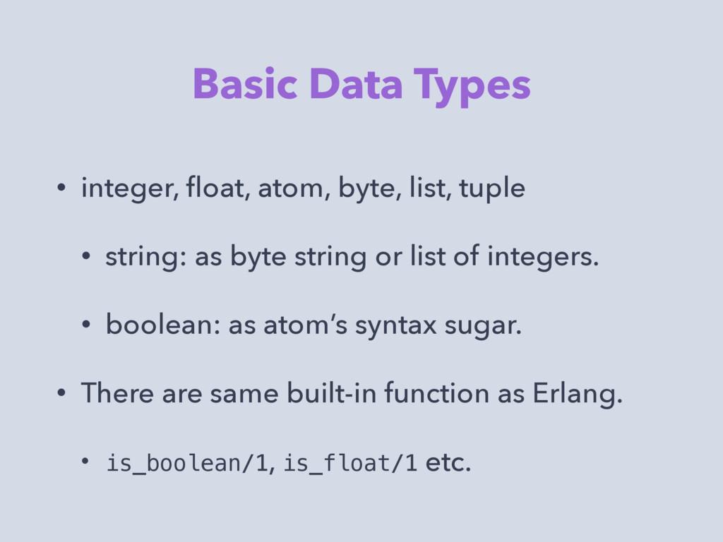 Basic Data Types • integer, float, atom, byte, l...