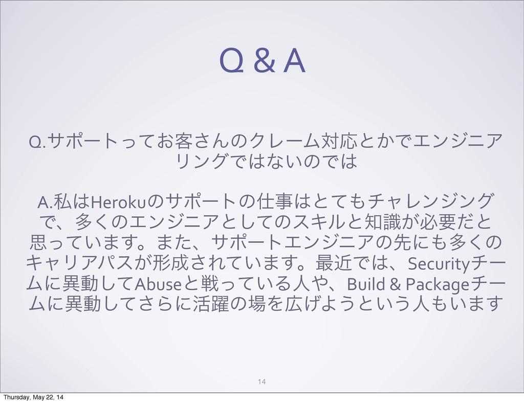 Q & A 14 Q.αϙʔτ͓ͬͯ٬͞ΜͷΫϨʔϜରԠͱ͔ͰΤϯδχΞ ϦϯάͰ...