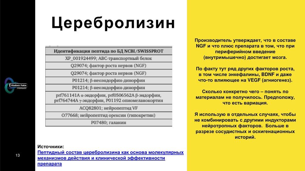 13 Церебролизин Источники: Пептидный состав цер...