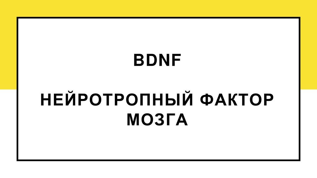 BDNF НЕЙРОТРОПНЫЙ ФАКТОР МОЗГА