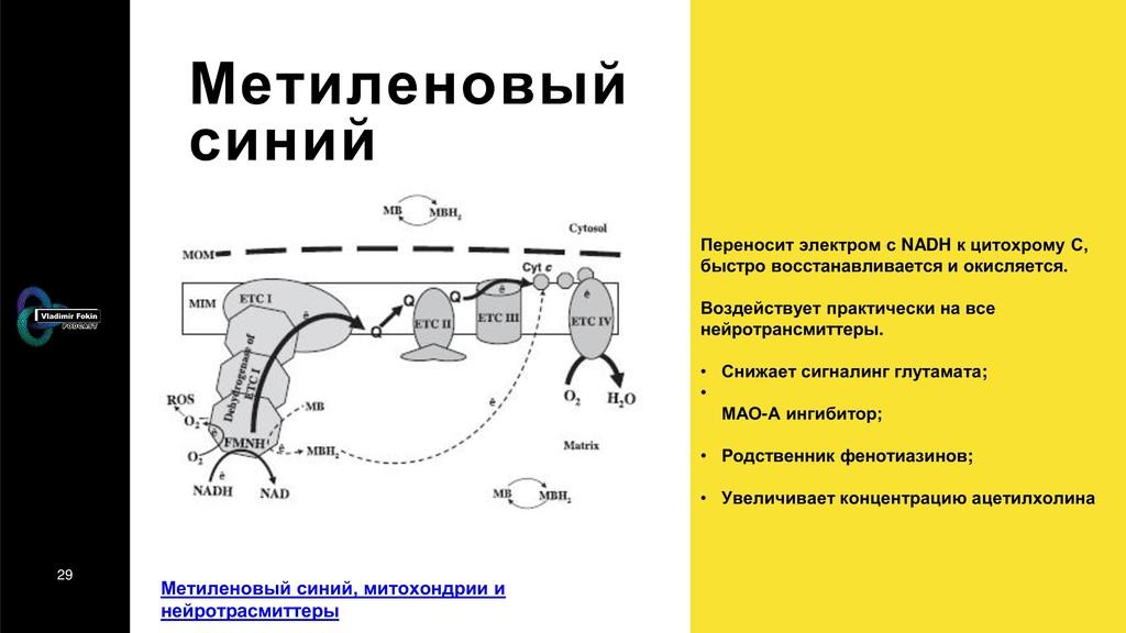 29 Метиленовый синий Переносит электром с NADH ...