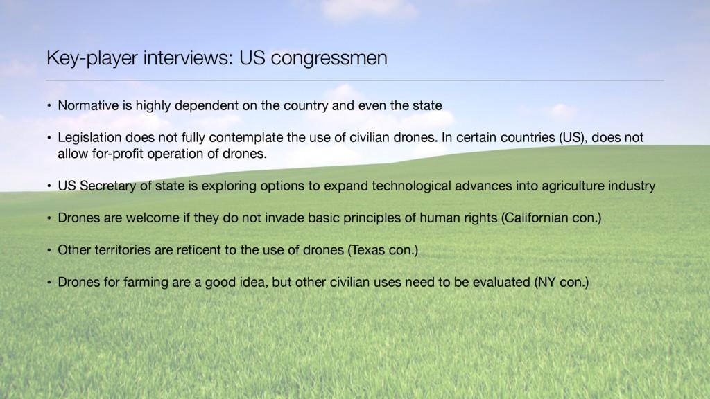 Key-player interviews: US congressmen • Normati...