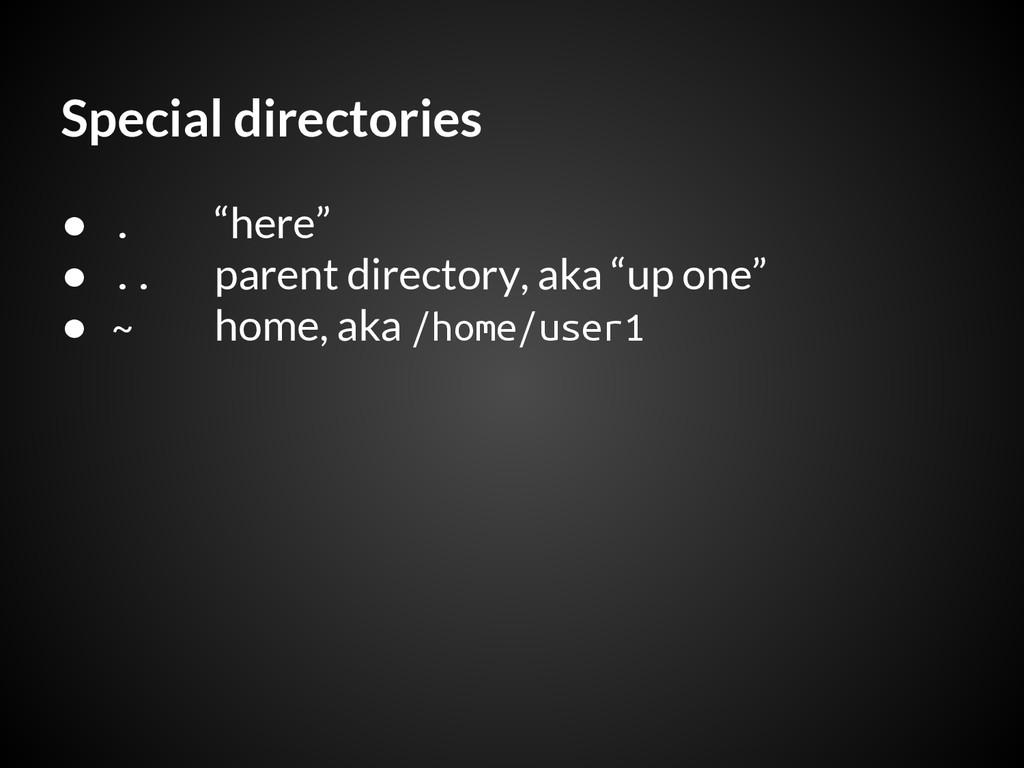 "Special directories ● . ""here"" ● .. parent dire..."