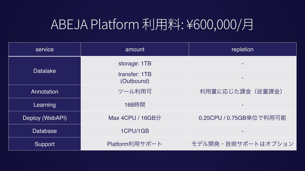 service amount repletion Datalake storage: 1TB ...