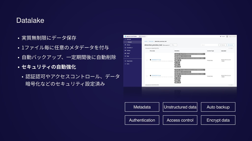 Datalake • 実質無制限にデータ保存 • 1ファイル毎に任意のメタデータを付与 • ⾃...