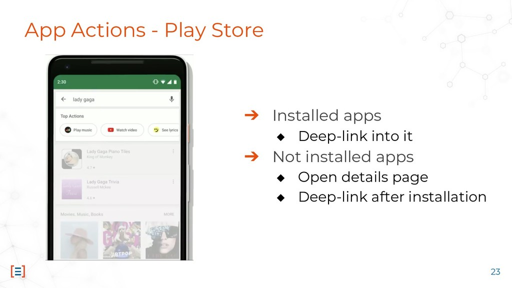 App Actions - Play Store ➔ Installed apps ◆ Dee...