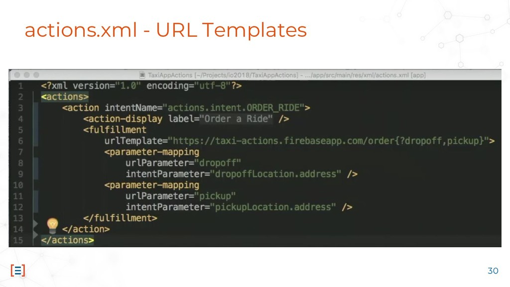 actions.xml - URL Templates 30