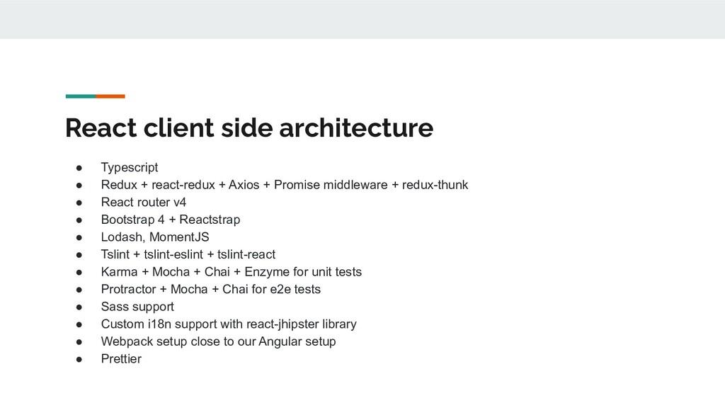 React client side architecture ● Typescript ● R...