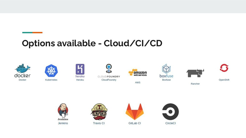 Options available - Cloud/CI/CD