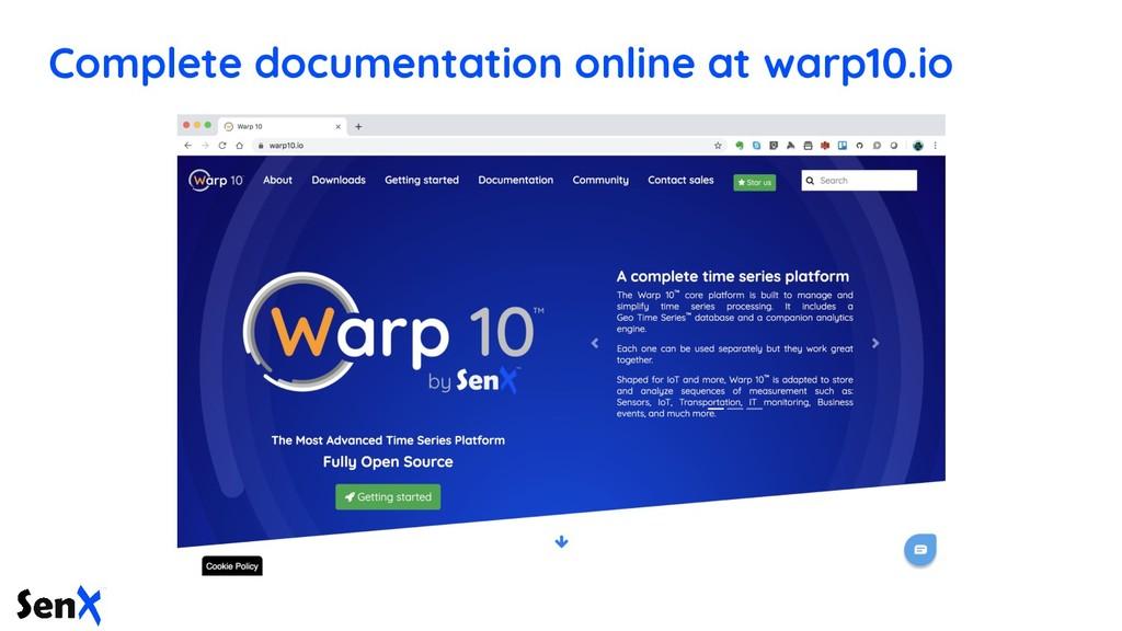 Complete documentation online at warp10.io