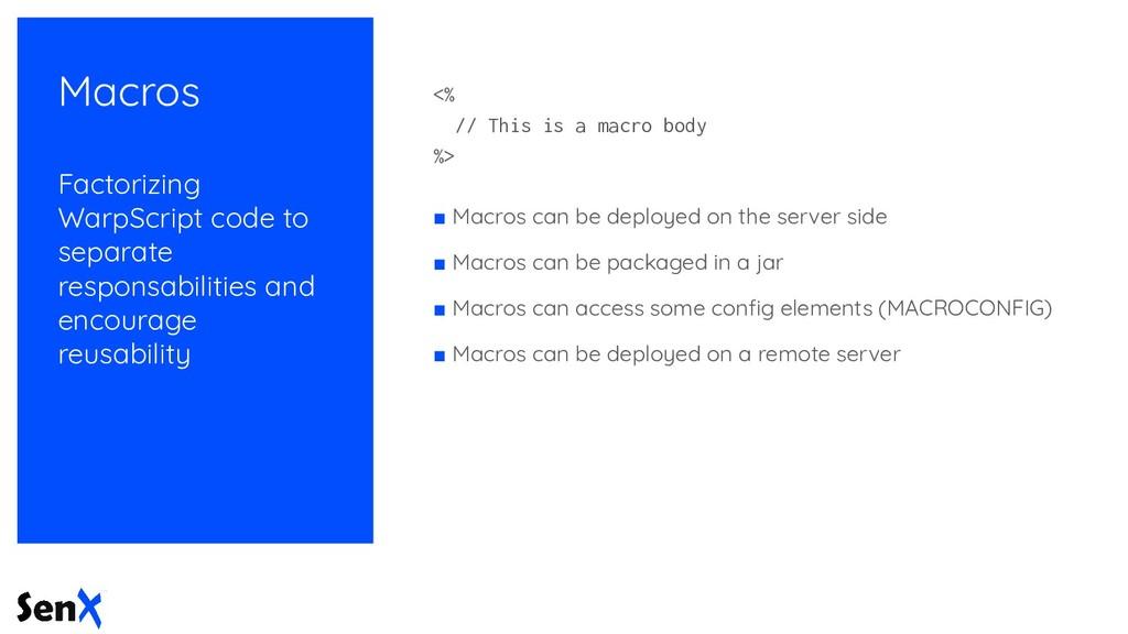 Macros Factorizing WarpScript code to separate ...
