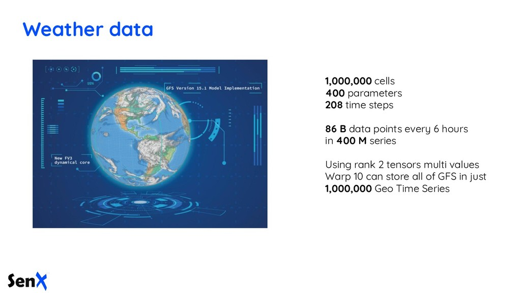 Weather data 1,000,000 cells 400 parameters 208...