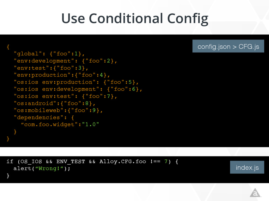"Use Conditional Config { ""global"": {""foo"":1}, ""..."