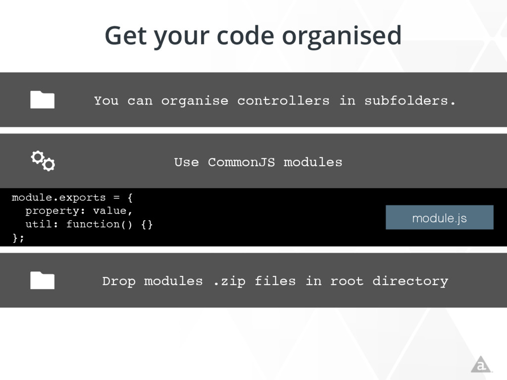Get your code organised You can organise contro...