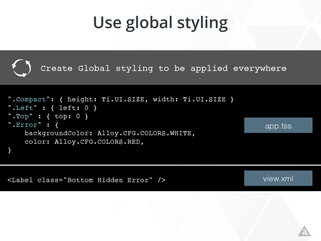 Use global styling Create Global styling to be ...