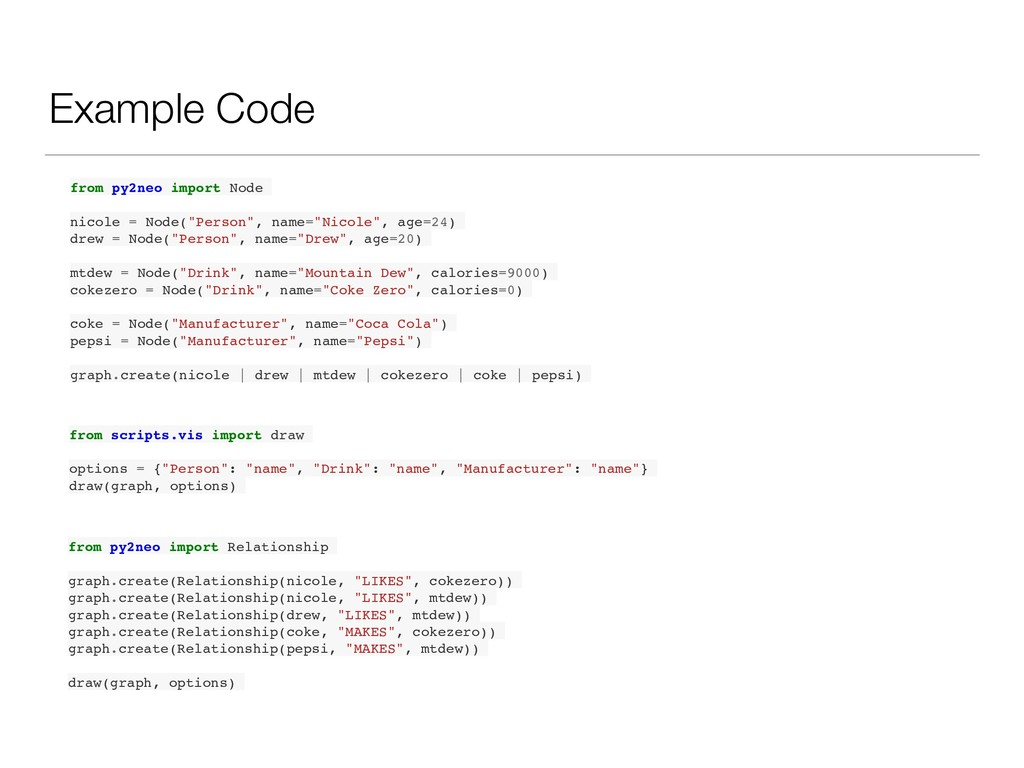Example Code from py2neo import Node nicole = N...