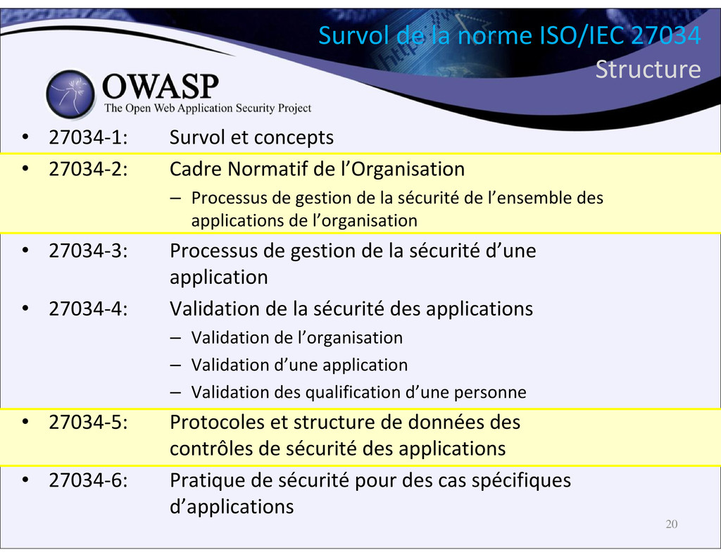 Survol de la norme ISO/IEC 27034 Structure • 27...