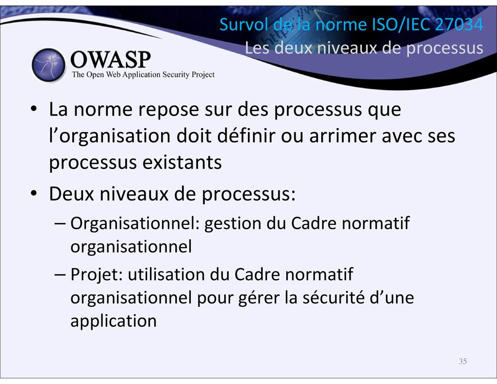 Survol de la norme ISO/IEC 27034 Les deux nivea...