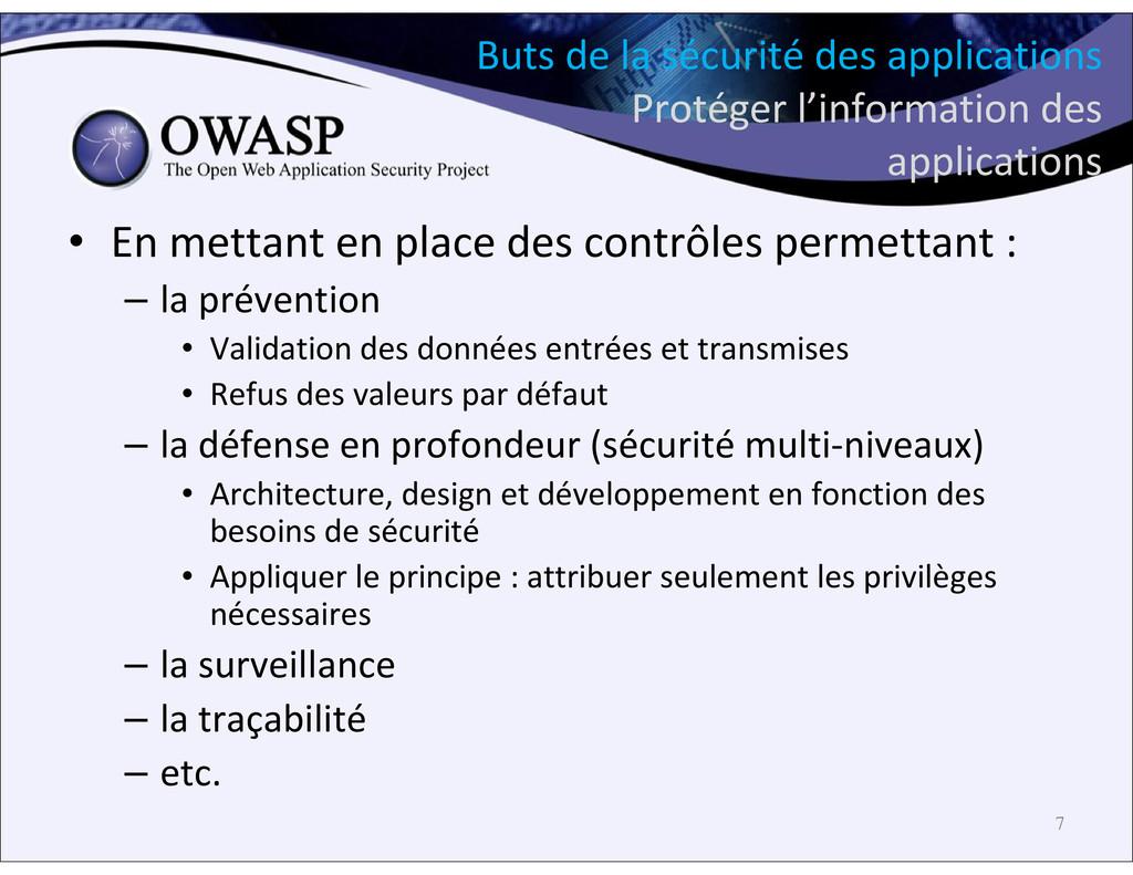 Buts de la sécurité des applications Protéger l...