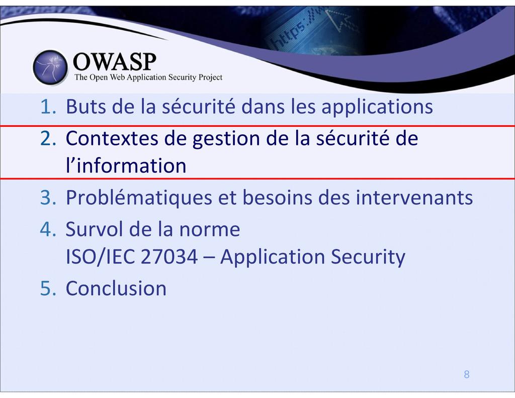 1. Buts de la sécurité dans les applications 2....