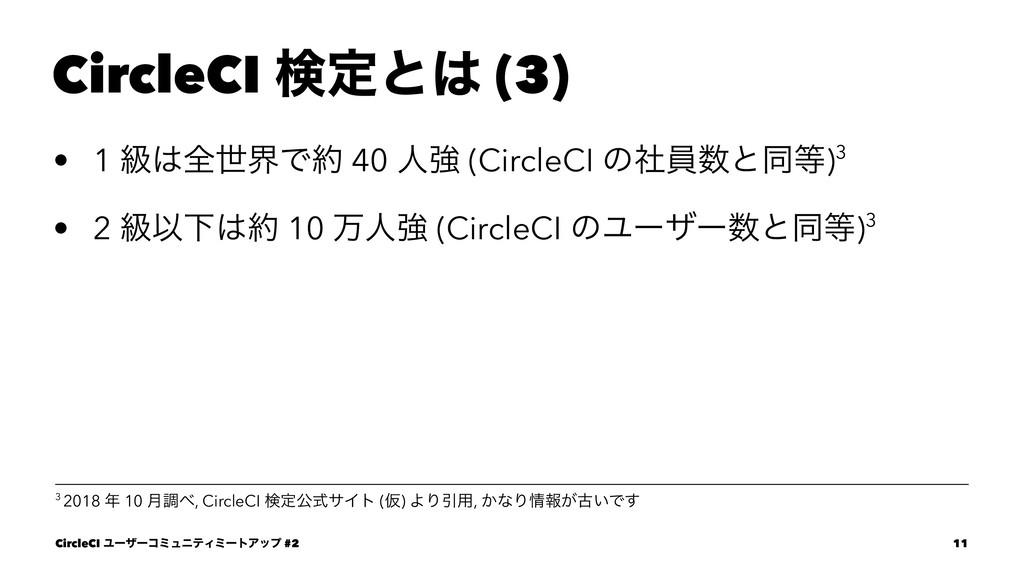 CircleCI ݕఆͱ (3) • 1 ڃશੈքͰ 40 ਓڧ (CircleCI ͷ...