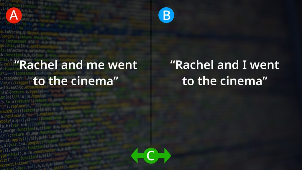 """Rachel and me went to the cinema"" ""Rachel and ..."