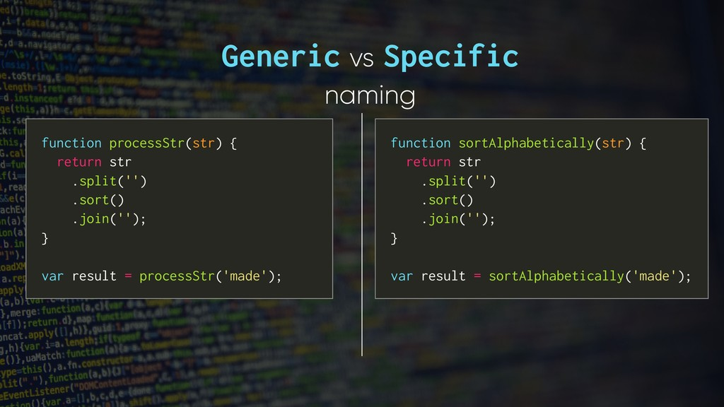 Generic vs Specific naming function sortAlphabe...