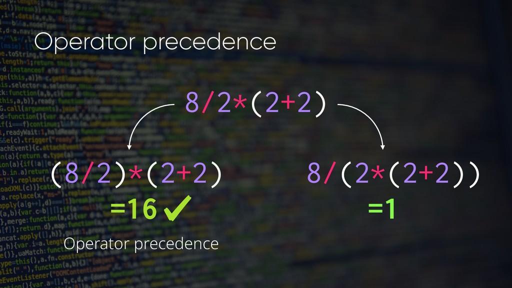 8/2*(2+2) (8/2)*(2+2) =16 8/(2*(2+2)) =1 Operat...