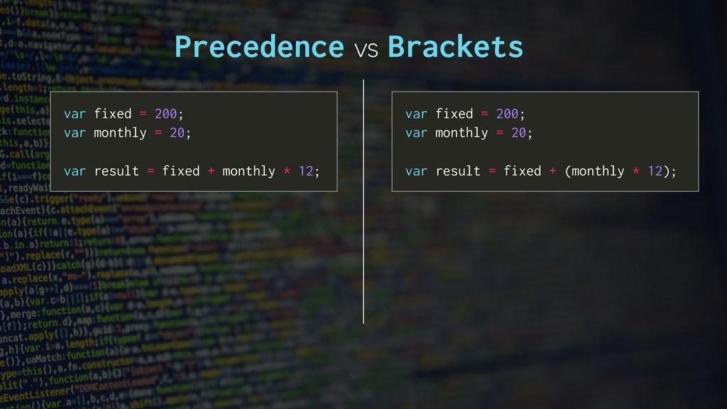 Precedence vs Brackets var fixed = 200; var mon...