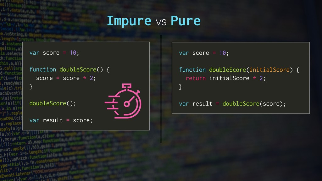 Impure vs Pure var score = 10; function doubleS...