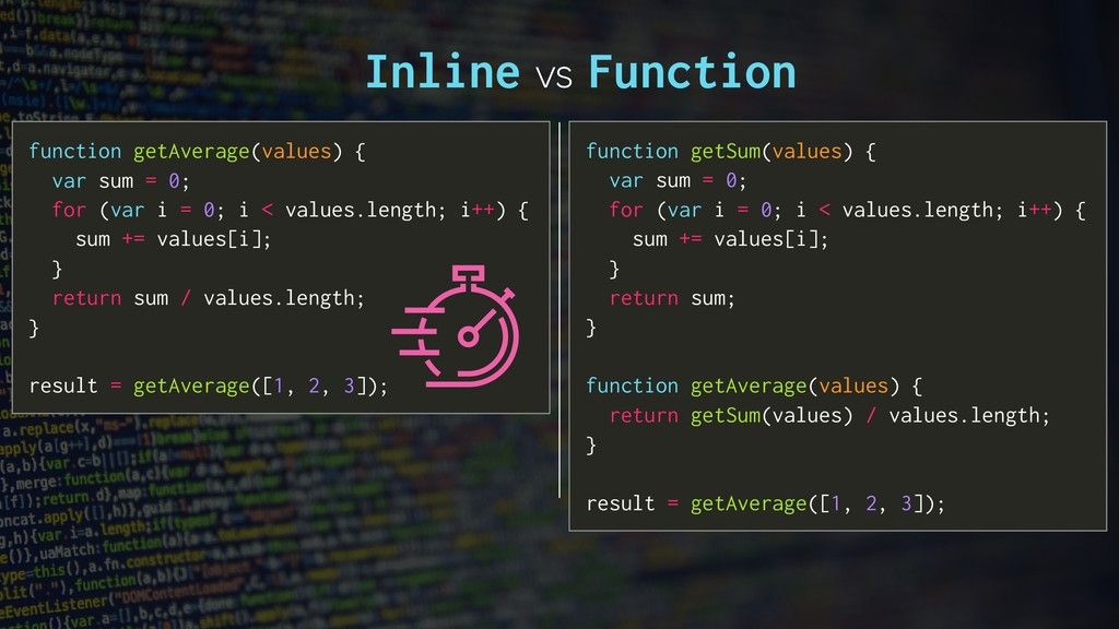 Inline vs Function function getAverage(values) ...