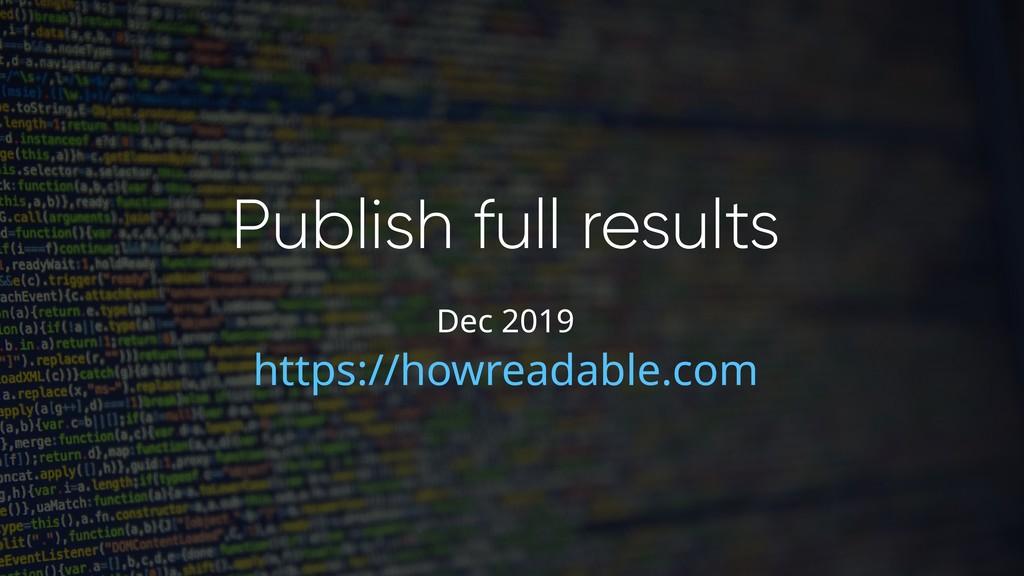 Publish full results https://howreadable.com De...